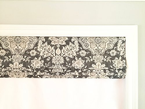 Faux Fake Roman Shade Valance With Lining Magnolia Home Fashions Belmont Metal Grey Beige And Cream