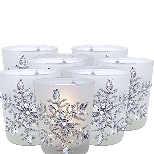 BANBERRY DESIGNS Snowflake Votive Candleholders with Flameless Flickering LED Candles 9 Frosted Glass Glittery Snowflakes with Jewels - 2-34h