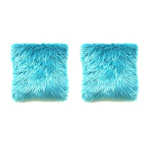 Howarmer Decorative Throw Pillows Cover Mongolian Faux Fur 18X18-Inch 2Pack Teal