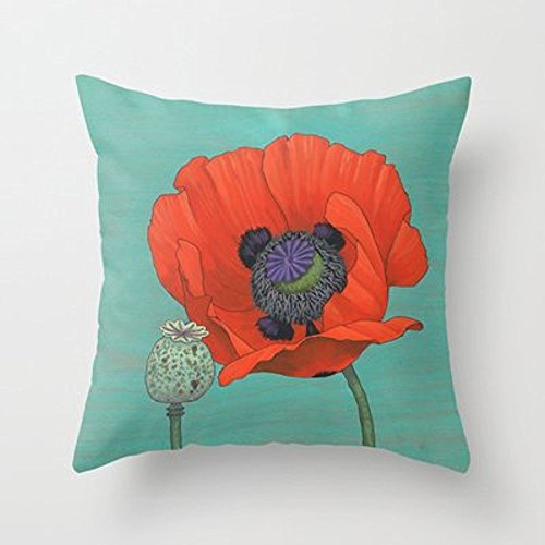 My Honey Pillow Red Poppy And Pod In Teal Throw Pillow By Kate Halpinfor Your Home