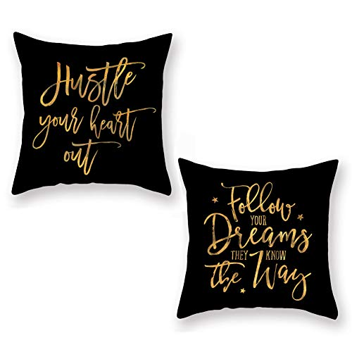 Aremazing Insipirational Quotes Saying Throw Pillow Covers Super Soft Decorative Black Gold Lettering Cushion Cover Home Sofa Pillowcase 18x18 Set of 2Follow Your Dream Hustle Your Heart Out