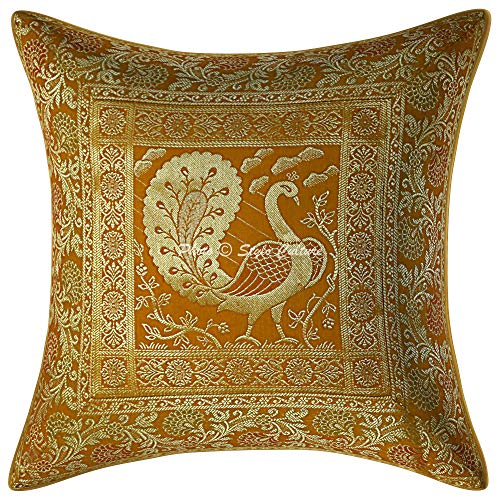Stylo Culture Ethnic Living Room Brocade Mustard Yellow and Gold Throw Pillow Covers 16x16 Jacquard Weave Sofa Ethnic Throw Pillows Dancing Peacock Floral 40x40 cm Decorative Cushion Covers 1 Pc