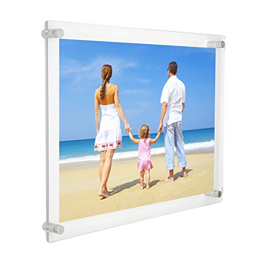 11x14 Clear Acrylic Wall Mount Floating Frameless Picture Frame for Degree Certificate Photo Frames-Double PanelFull Frame is 13x16 inch
