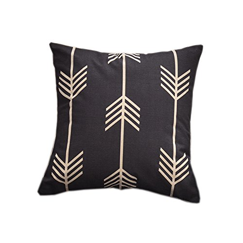 18 x 18 Inch 2-Sides Black Arrow Decorative Pillow Covers Geometric Pattern Pillow Case for Sofa Square Canvas Throw Pillows for Couch