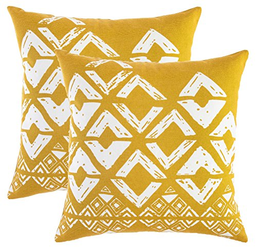 TreeWool Pack of 2 Squares Geometric Accent Throw Pillow Covers in Cotton Canvas 18 x 18 Inches Mustard White