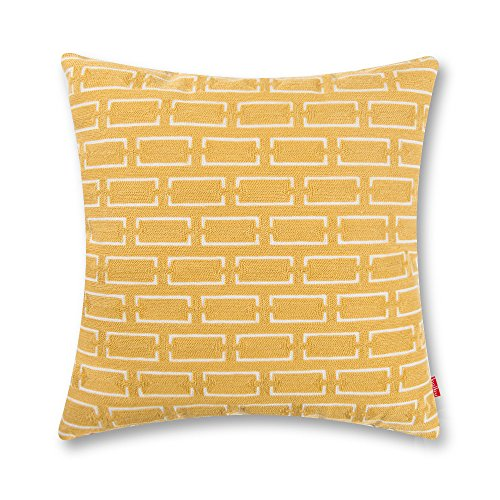baibu Cotton Chains Decor Accent Throw Pillow Case Embroidery Pattern Cushion Cover Yellow