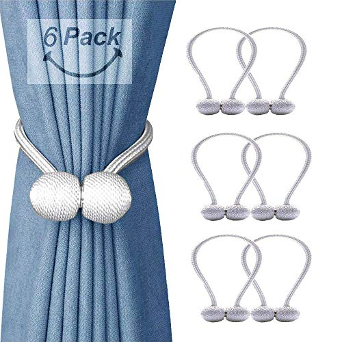 SmallDot Magnetic Curtain Tiebacks Pack of 6 Drapery Hooks Holdbacks Holders with Strong Magnet for Window Sheer Blackout Panels 16 Inch White