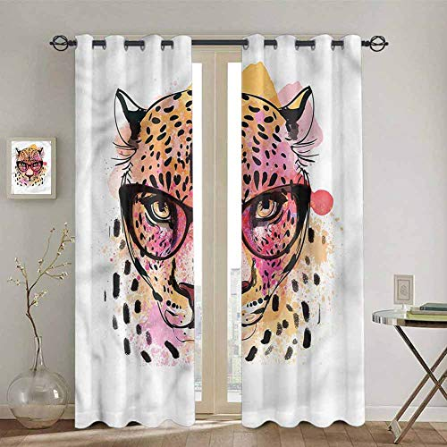 SONGDAYONE Girls Premium Blackout Curtains Modern Hipster Leopard Curtains 84 inch Length Easy to Install W72 x L84 Inch