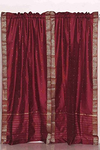 Maroon Rod Pocket Sheer Sari Cafe Curtain  Drape  Panel - 43W x 36L - Piece