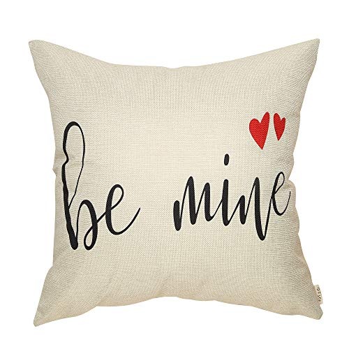 Fjfz Rustic Farmhouse Decor Be Mine with Hearts Valentines Day Sign DCotton Linen Home Decorative Throw Pillow Case Cushion Cover with Words for Lover Couple Sofa Couch 18 x 18