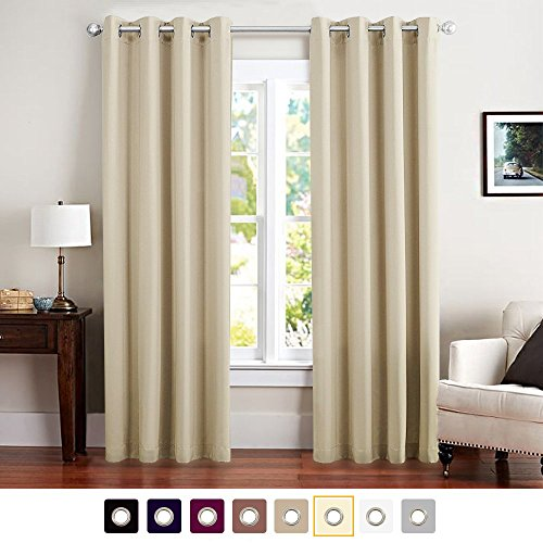 Vangao Room Darkening Thermal Insulated Blackout Curtains Solid Grommet Top Window DraperiesDrapespanels for BedroomLiving Room 1 Panel 52x84 Inch Beige Curtains