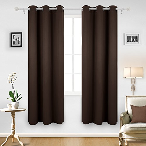 Deconovo Room Darkening Thermal Insulated Grommet Window Blackout Curtains Panels For Livingroom Chocolate 42x84-Inch