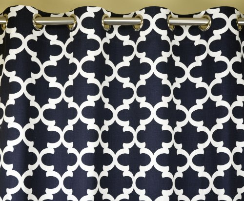 Navy Blue and White Quatrefoil Drape with Blackout Lining One Grommet Top Curtain Panel 108 inches long x 50 inches wide