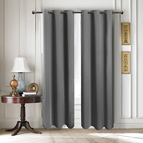 Room Darkening Curtains Window Panel Drapes - Window Treatments Thermal Insulated Solid Grommet Blackout Curtains for Bedroom 1 Pair42 by 84-inchGray
