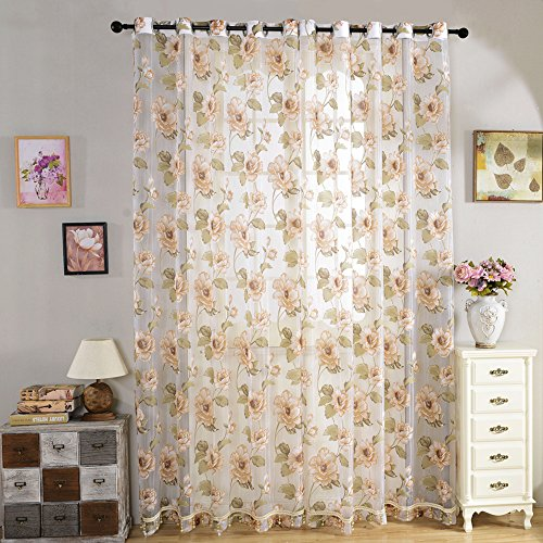 ChezMax Floral Pattern Window Treatments Drapes Sheer Curtains 39 W x 78 L 2 Panels