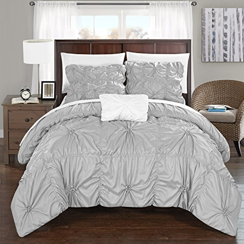 Chic Home DS2247-AN Hamilton 4Piece Hamilton Floral Pinch Pleat Ruffled Designer Embellished Queen Duvet Cover Set SilverQueen