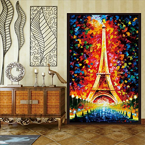OstepDecor Custom Eiffel Tower Translucent Non-Adhesive Frosted Stained Glass Window Films 24 W x 36 H One Panel