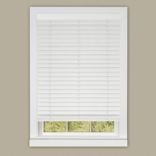 Ben&Jonah PrimeHome Collection Cordless Madera Falsa 2 Faux Wood Plantation Blind 35x64 - White