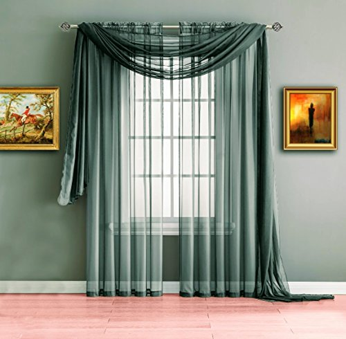 Warm Home Designs Charcoal Gray Sheer Window Curtains Each Voile Drape Is 56 X 84 Inches in Size Great for Kitchen Living Room Kids Bedroom or Office 2 Panels Included Color Grey Charcoal 84