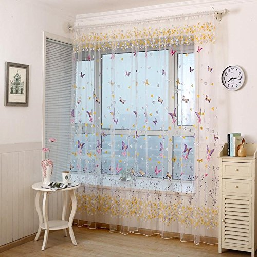 WPKIRA Window Treatments Decorative Perspective Butterfly Print Floral Tulle Voile Door Window Rom Curtain Drape Panel Sheer Scarf Valances Rod Pocket Top  1 Panel  W54 x L63 inch