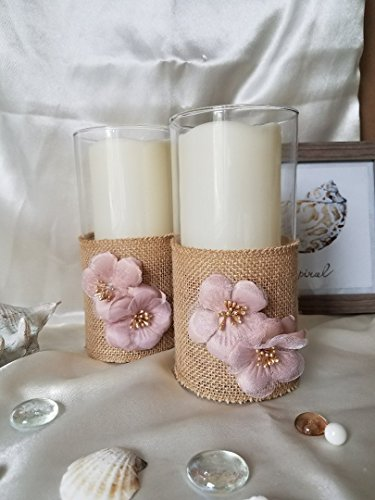 Burlap Glass Tealight Candle holderWedding Decor Candle Holders flowers