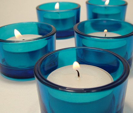 Blue Glass Tea Light Candle Holders