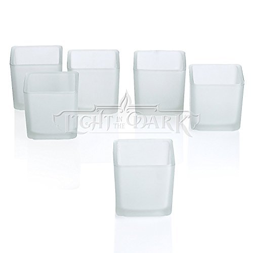 White Frosted Square Votive Candle Glass Holders Set of 12 by Light In the Dark