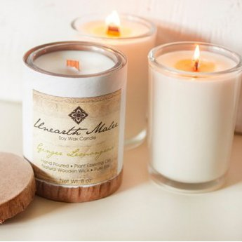 Ginger Lemongrass Natural Wood Wick Soy Candle