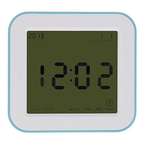 VANKER Four-Sided Digital Rotating Time Alarm Timer Temperature LCD Clock - Blue