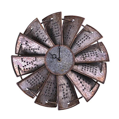 Rustic Metal Windmill Wall Clock NALAKUVARA Silent Non Ticking Wall Clocks Large Decorative - Vintage Antique Conuntry Farm Home Farmhouse Decor - Quality Quartz Battery Operated - 145 Inch