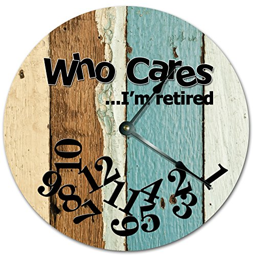 EasySells 105 WHO Cares Im Retired Colored Wood Boards Design Clock - Words Clock - Large 105 Wall Clock - Home Décor Clock