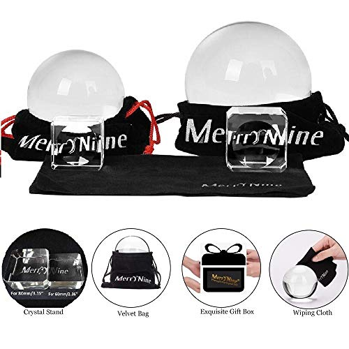 MerryNine Professional Photography Crystal Ball K9 Crystal Glass Ball with Pouch 60mm  80mm with Stand