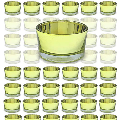 BANBERRY DESIGNS Gold Glass Tea Light Candle Holders - Bulk Set of 72 Small Jars - Gold Party Wedding Decorations - Boxed