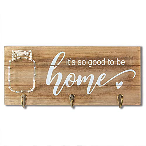 VILIGHT Vilght Home Sign Wall Decor Key Holder - Rustic Housewarming Gifts with String Art Mason Jar Decorations with Hooks - 126x55 Inches