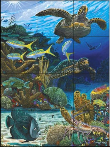 Ceramic Tile Mural - Caymen Turtles- by Carey Chen - Kitchen backsplash  Bathroom shower