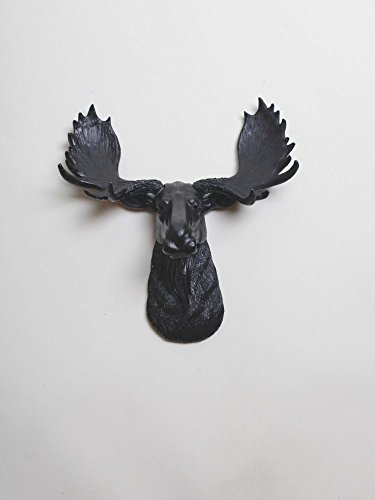 The Mini Leonard  Miniature Black Resin Moose Head  Black Moose Head Wall Decor  Moose Head Wall Mount  Faux Taxidermy  Animal Head Wall Hanging Sculpture  Trophy Taxidermy