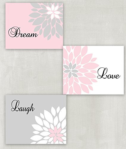 Dream Love Laugh Floral Wall Art in Soft Pink Light Gray Set of 3 5x7 or 8x10 Prints for Childs Room or Babys Nursery Bathroom Powder Room Dorm unframed