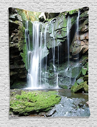 Ambesonne Waterfall Decor Collection Rocky Waterfall Pond Runoff Scenic Nature Picture Bedroom Living Kids Girls Boys Room Dorm Accessories Wall Hanging Tapestry Green Olive White