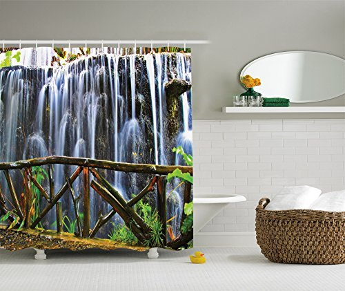 Ambesonne Waterfall Decor Collection Tropical Park Falling Streams Plants Waterfall Scenery Polyester Fabric Bathroom Shower Curtain Set with Hooks Grey Green White