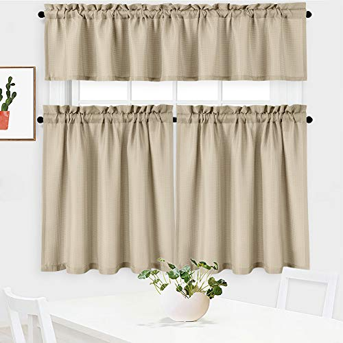 NANAN 3 Pieces Waffle Weave Textured Kitchen Tier Curtains and Valance Set for BathroomWaterproof Tailored Short Cafe Curtains,Plaza Taupe