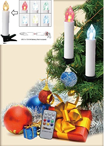 Top Race Battery Powered Remote Control LED Flameless Holiday Christmas Tree Candles with Clips 10 Pack -Multi Colored-