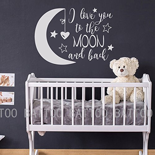 BATTOO I Love You To The Moon and Back- Moon and Stars Wall Sticker Baby Nursery Wall Decor - Kids Room Wall Decal Quotes - Baby Crib Wall Decorwhite 40WX29H