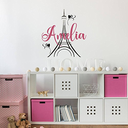 Personalized Girls Name Paris Theme Decor Eiffel Tower Vinyl Wall Decals Custom Your Name Girl Nursery Decor 18 X 20