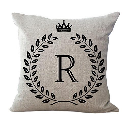 ChezMax Cotton Linen Cushion English Alphabet Pattern Square Decor Pillow Decorative Throw Pillow 18 X 18