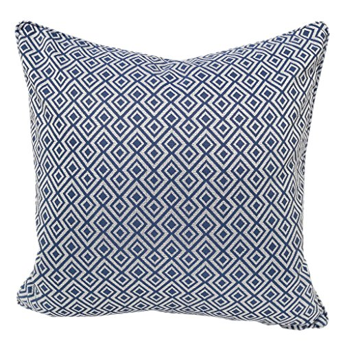 Home Accent Pillows Jacquard Plaid Throw Pillow CoverNavy Blue Diamond Decorative Square Couch Cushion Pillow Sham Case 20 x 20 Inch Cover Only