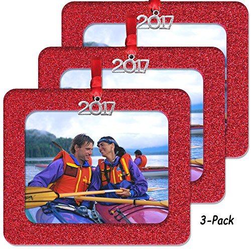 2017 Magnetic Glitter Christmas Photo Frame Ornaments with Non-Glare Photo Protector Horizontal 3-pack- Red