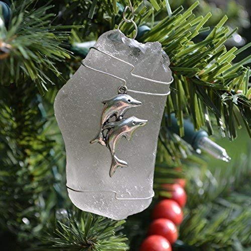 Custom Surf Tumbled Sea Glass Ornament with a Silver Dolphins Charm - Choose Your Color Sea Glass Frosted Green and Brown