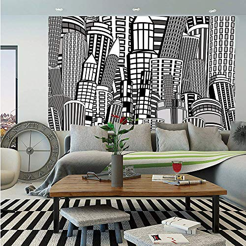 SoSung City Wall MuralCartoon Style Doodle Urban Life Depiction Apartments Monochrome Color Palette DecorativeSelf-Adhesive Large Wallpaper for Home Decor 83x120 inchesBlack Grey White