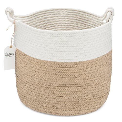 Parker Baby Nursery Storage Basket - Rope Storage Bin and Organizer for Laundry Toys and Baby Blankets