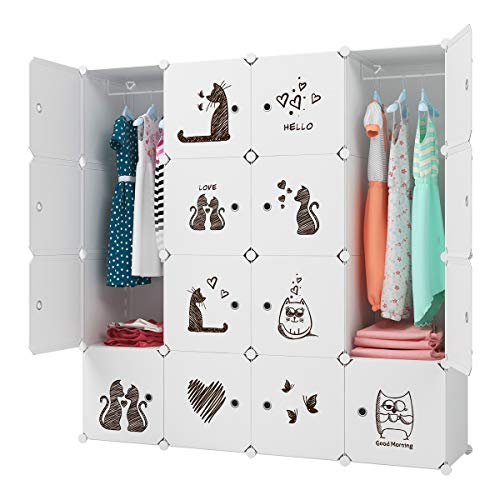 KOUSI Kids Dresser Kids Closet Portable Closet Wardrobe Children Bedroom Armoire Clothes Hanging Storage Rack Cube Organizer Safety 18 Deep 10 Cubes 2 Hanging Sections